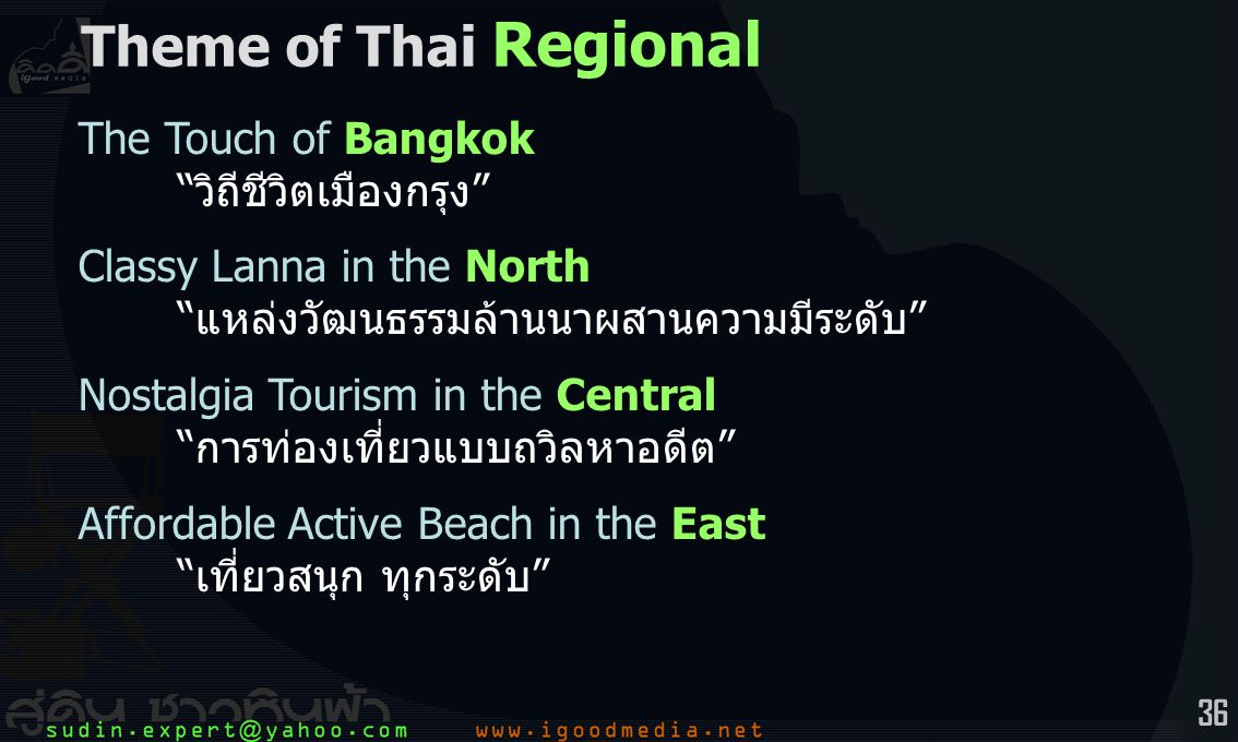 36 The Touch of Bangkok วิถีชีวิตเมืองกรุง Classy Lanna in the North แหล่งวัฒนธรรมล้านนาผสานความมีระดับ Nostalgia Tourism in the Central การท่องเที่ยวแบบถวิลหาอดีต Affordable Active Beach in the East เที่ยวสนุก ทุกระดับ Theme of Thai Regional