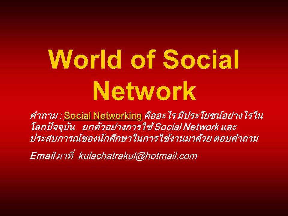 World of Social Network Social Networking คำถาม : Social Networking คืออะไร มีประโยชน์อย่างไรใน โลกปัจจุบัน ยกตัวอย่างการใช้ Social Network และ ประสบก