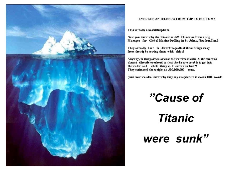 """ Cause of Titanic were sunk """