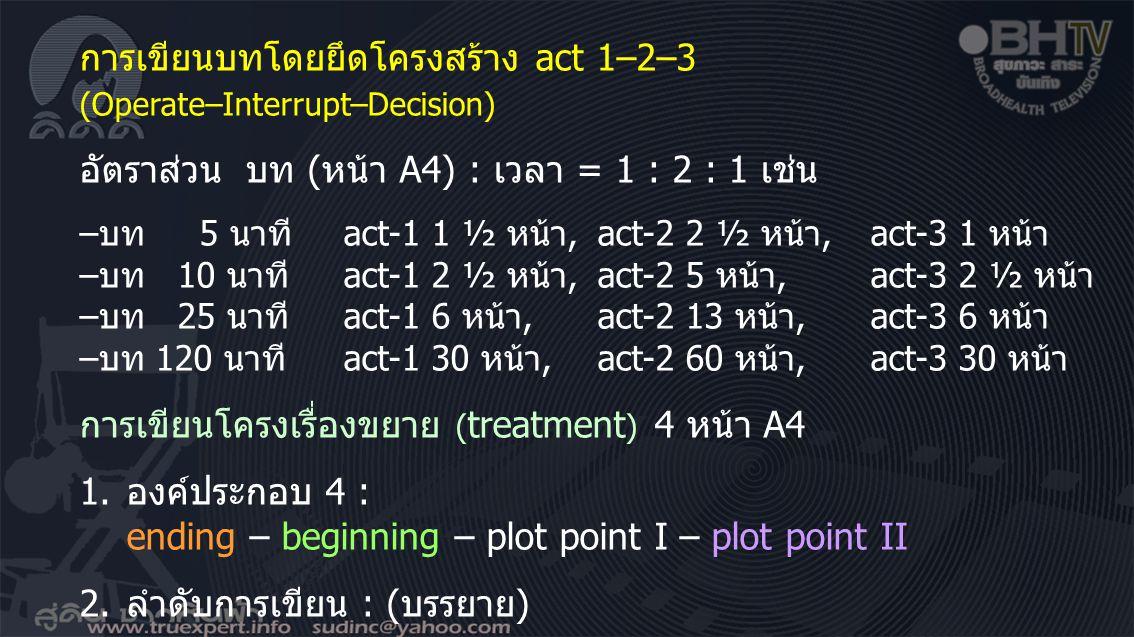 การเขียนบทโดยยึดโครงสร้าง act 1–2–3 (Operate–Interrupt–Decision) อัตราส่วน บท (หน้า A4) : เวลา = 1 : 2 : 1 เช่น –บท 5 นาทีact-1 1 ½ หน้า,act-2 2 ½ หน้