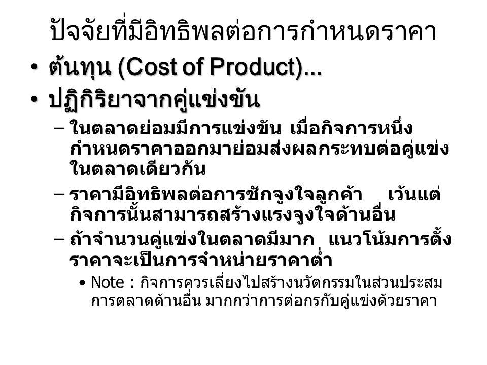 วิธีการกำหนดราคา การกำหนดราคาโดยบวกกำไรเข้าไปใน ต้นทุนสินค้าการกำหนดราคาโดยบวกกำไรเข้าไปใน ต้นทุนสินค้า ต้นทุนต่อหน่วย + กำไรที่ต้องการ = ราคา  4000 บาท + 25% = 4000 + (25%x1000) = 5000 บาท  4000 บาท + 1000 บาท = 5000 บาท การกำหนดราคาโดยเปรียบเทียบราคากับ คู่แข่งขัน (Strategic Pricing)การกำหนดราคาโดยเปรียบเทียบราคากับ คู่แข่งขัน (Strategic Pricing) กำหนดราคาโดยพิจารณาความต้องการ ในตลาดกำหนดราคาโดยพิจารณาความต้องการ ในตลาด (On demand pricing)