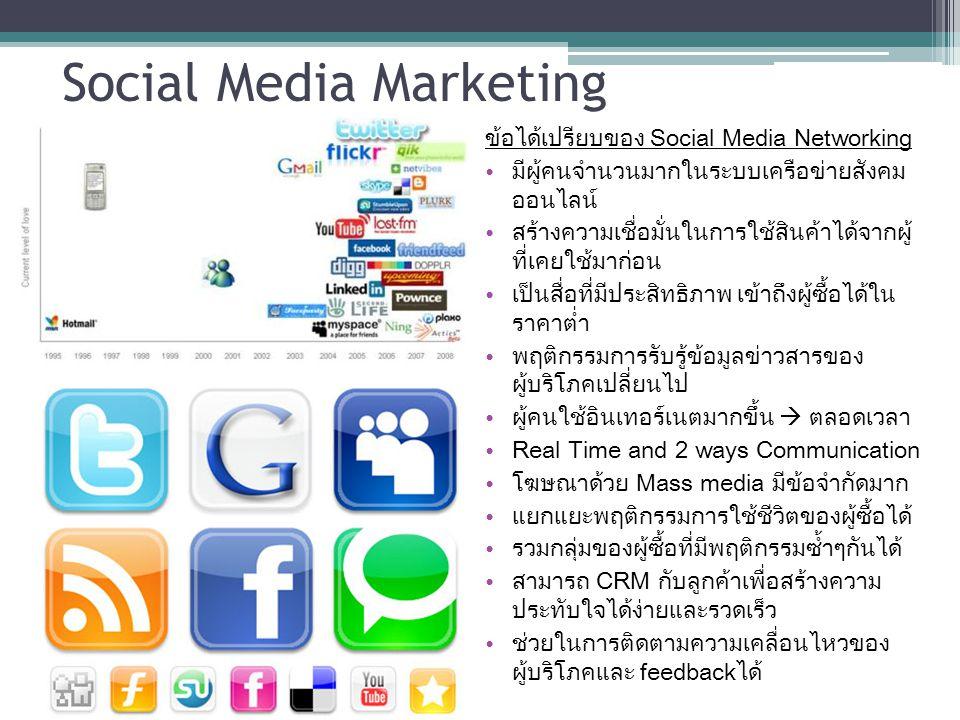 Social Media Marketing ข้อได้เปรียบของ Social Media Networking มีผู้คนจำนวนมากในระบบเครือข่ายสังคม ออนไลน์ สร้างความเชื่อมั่นในการใช้สินค้าได้จากผู้ ท