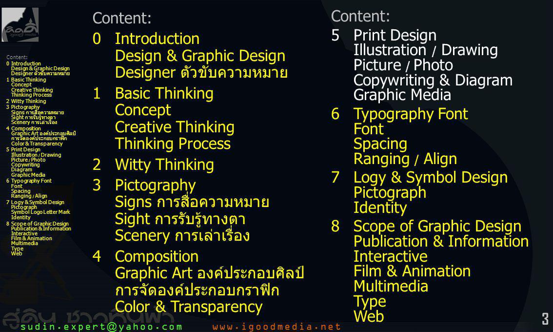 44 Content: 0Introduction Design & Graphic Design Designer ตัวขับความหมาย 1Basic Thinking Concept Creative Thinking Thinking Process 2Witty Thinking 3Pictography Signs การสื่อความหมาย Sight การรับรู้ทางตา Scenery การเล่าเรื่อง 4Composition Graphic Art องค์ประกอบศิลป์ การจัดองค์ประกอบกราฟิก Color & Transparency 5Print Design Illustration / Drawing Picture / Photo Copywriting Diagram Graphic Media 6Typography Font Font Spacing Ranging / Align 7Logy & Symbol Design Pictograph Symbol Logo Letter Mark Identity 8Scope of Graphic Design Publication & Information Interactive Film & Animation Multimedia Type Web 5Print Design การจัดการ ออกแบบสิ่งพิมพ์ -artwork