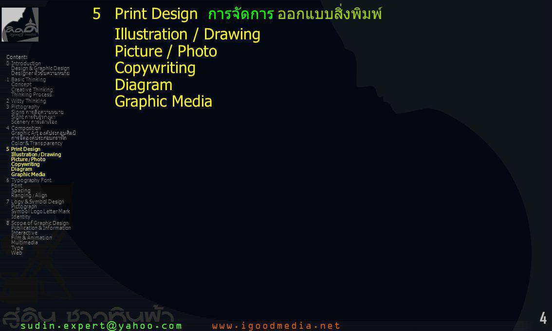 35 Content: 0Introduction Design & Graphic Design Designer ตัวขับความหมาย 1Basic Thinking Concept Creative Thinking Thinking Process 2Witty Thinking 3Pictography Signs การสื่อความหมาย Sight การรับรู้ทางตา Scenery การเล่าเรื่อง 4Composition Graphic Art องค์ประกอบศิลป์ การจัดองค์ประกอบกราฟิก Color & Transparency 5Print Design Illustration / Drawing Picture / Photo Copywriting Diagram Graphic Media 6Typography Font Font Spacing Ranging / Align 7Logy & Symbol Design Pictograph Symbol Logo Letter Mark Identity 8Scope of Graphic Design Publication & Information Interactive Film & Animation Multimedia Type Web 5Print Design การจัดการ ออกแบบสิ่งพิมพ์ -artwork