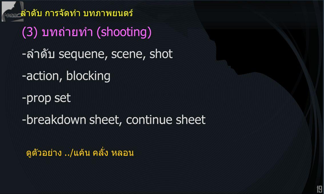 19 (3) บทถ่ายทำ (shooting) -ลำดับ sequene, scene, shot -action, blocking -prop set -breakdown sheet, continue sheet ลำดับ การจัดทำ บทภาพยนตร์ ดูตัวอย่าง../แค้น คลั่ง หลอน