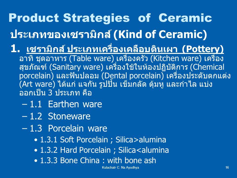 Kulachatr C.Na Ayudhya16 ประเภทของเซรามิกส์ (Kind of Ceramic) 1.