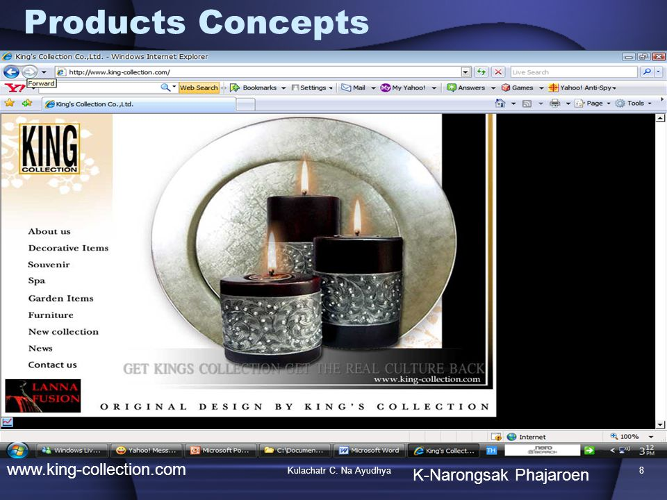 Kulachatr C. Na Ayudhya8 Products Concepts www.king-collection.com K-Narongsak Phajaroen