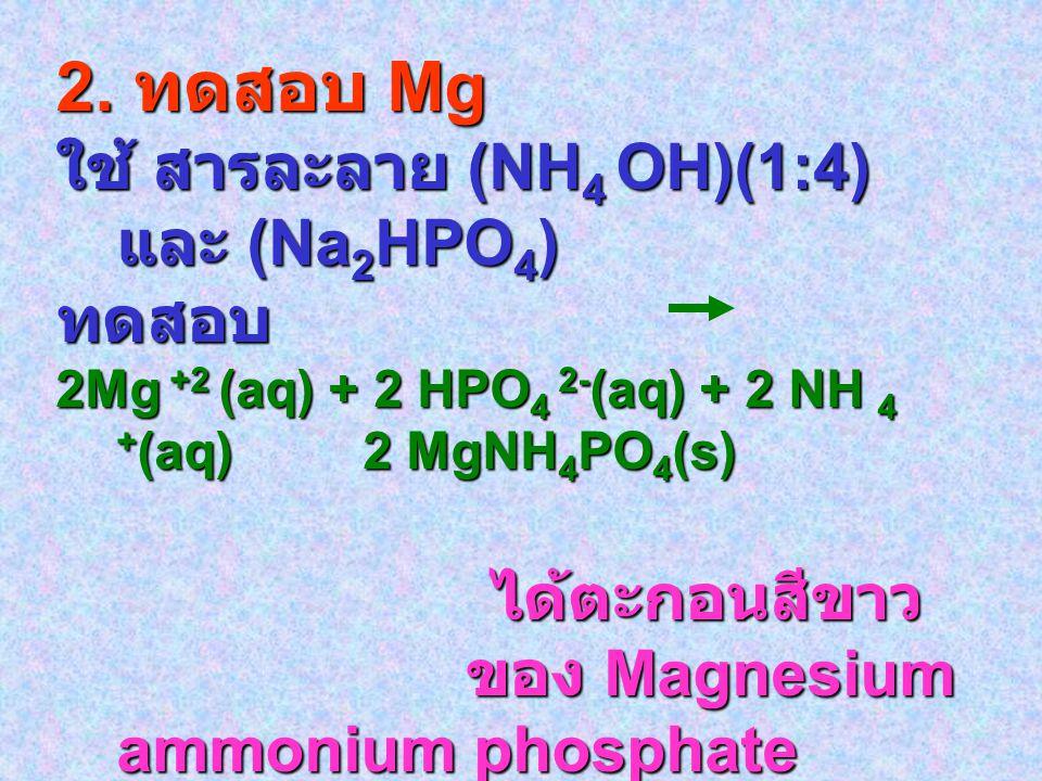 2. ทดสอบ Mg ใช้ สารละลาย (NH 4 OH)(1:4) และ (Na 2 HPO 4 ) ทดสอบ 2Mg +2 (aq) + 2 HPO 4 2- (aq) + 2 NH 4 + (aq) 2 MgNH 4 PO 4 (s) ได้ตะกอนสีขาว ได้ตะกอน