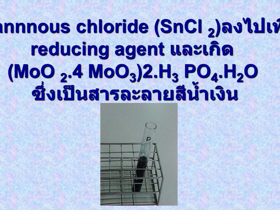 เติม stannnous chloride (SnCl 2 ) ลงไปเพื่อเป็น reducing agent และเกิด (MoO 2.4 MoO 3 )2.H 3 PO 4.H 2 O ซึ่งเป็นสารละลายสีน้ำเงิน