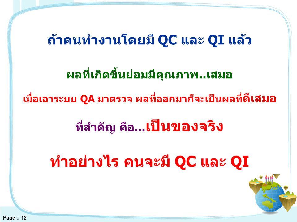 Page :: 12 ถ้าคนทำงานโดยมี QC และ QI แล้ว ผลที่เกิดขึ้นย่อมมีคุณภาพ..เสมอ เมื่อเอาระบบ QA มาตรวจ ผลที่ออกมาก็จะเป็นผลที่ ดีเสมอ ที่สำคัญ คือ...