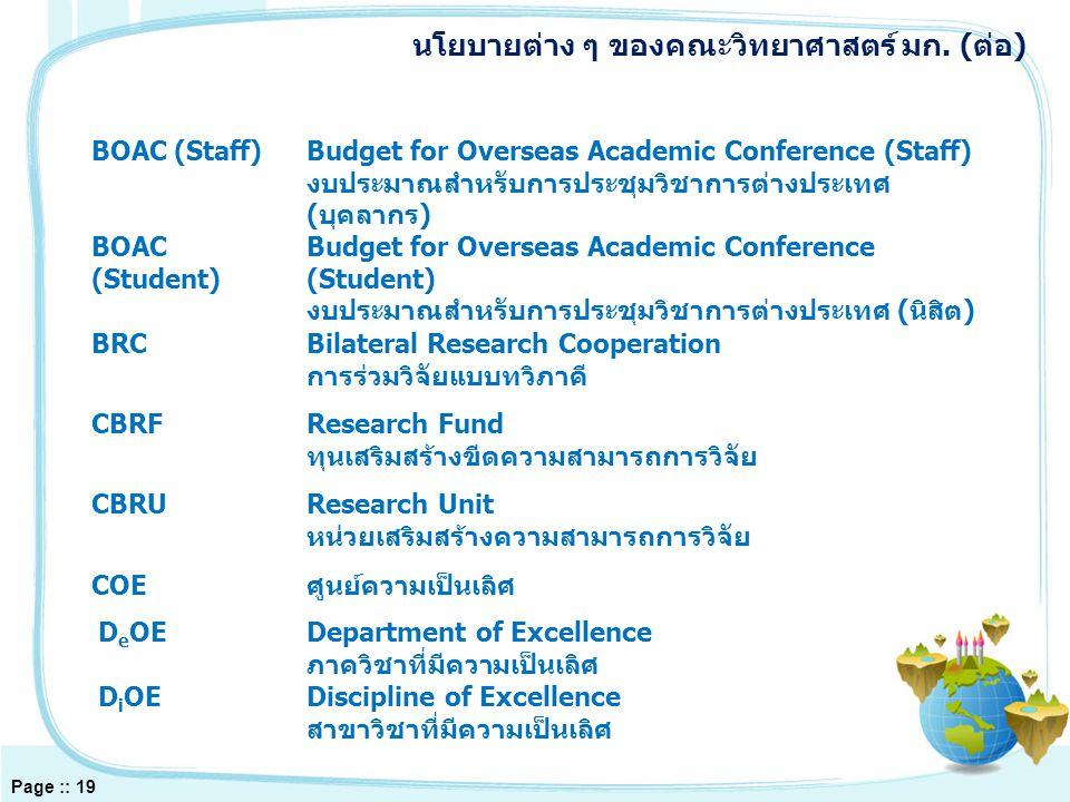 BOAC (Staff)Budget for Overseas Academic Conference (Staff) งบประมาณสำหรับการประชุมวิชาการต่างประเทศ (บุคลากร) BOAC (Student) Budget for Overseas Academic Conference (Student) งบประมาณสำหรับการประชุมวิชาการต่างประเทศ (นิสิต) BRCBilateral Research Cooperation การร่วมวิจัยแบบทวิภาคี CBRFResearch Fund ทุนเสริมสร้างขีดความสามารถการวิจัย CBRUResearch Unit หน่วยเสริมสร้างความสามารถการวิจัย COEศูนย์ความเป็นเลิศ D e OEDepartment of Excellence ภาควิชาที่มีความเป็นเลิศ D i OEDiscipline of Excellence สาขาวิชาที่มีความเป็นเลิศ นโยบายต่าง ๆ ของคณะวิทยาศาสตร์ มก.