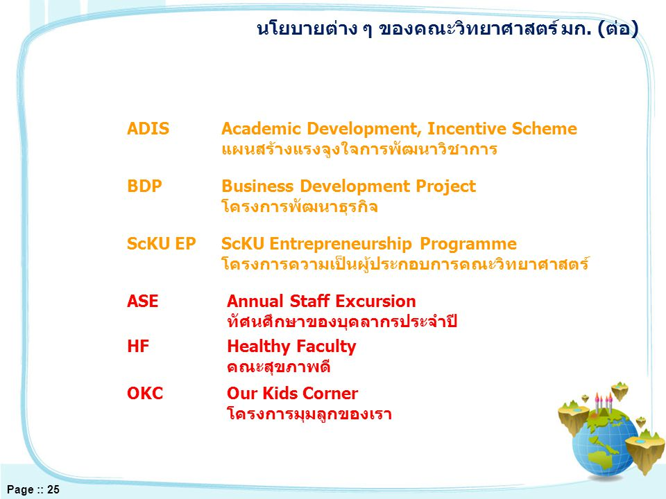 ASEAnnual Staff Excursion ทัศนศึกษาของบุคลากรประจำปี HFHealthy Faculty คณะสุขภาพดี OKCOur Kids Corner โครงการมุมลูกของเรา ADISAcademic Development, Incentive Scheme แผนสร้างแรงจูงใจการพัฒนาวิชาการ BDPBusiness Development Project โครงการพัฒนาธุรกิจ ScKU EPScKU Entrepreneurship Programme โครงการความเป็นผู้ประกอบการคณะวิทยาศาสตร์ นโยบายต่าง ๆ ของคณะวิทยาศาสตร์ มก.