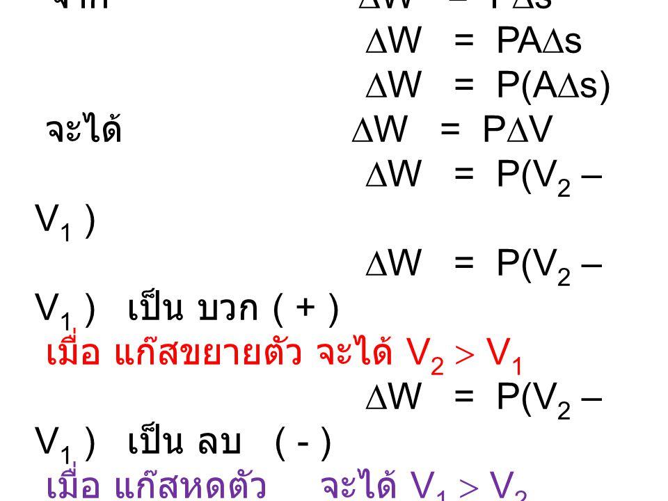 จาก  W = F  s  W = PA  s  W = P(A  s) จะได้  W = P  V  W = P(V 2 – V 1 )  W = P(V 2 – V 1 ) เป็น บวก ( + ) เมื่อ แก๊สขยายตัว จะได้ V 2  V 1