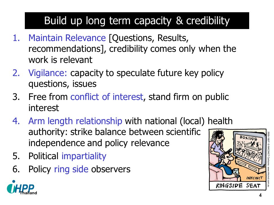 4 1.Maintain Relevance [Questions, Results, recommendations], credibility comes only when the work is relevant 2.Vigilance: capacity to speculate futu