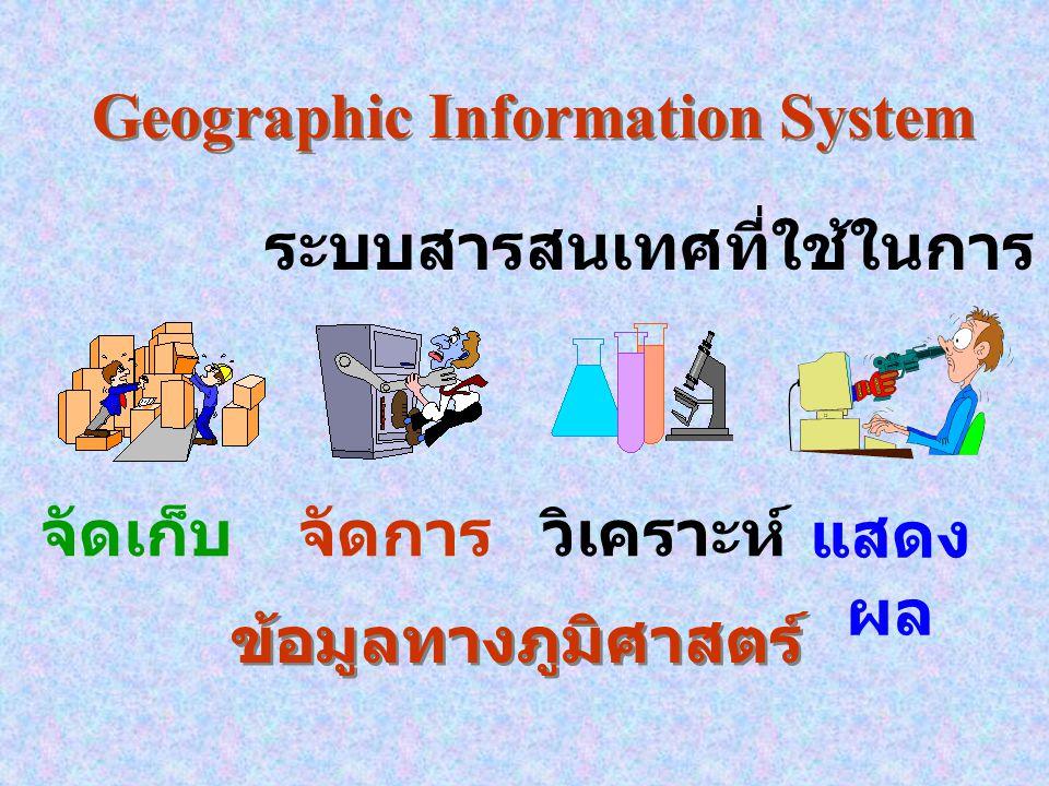 Geographic Information System ระบบสารสนเทศที่ใช้ในการ จัดเก็บจัดการวิเคราะห์ แสดง ผล ข้อมูลทางภูมิศาสตร์ ข้อมูลทางภูมิศาสตร์