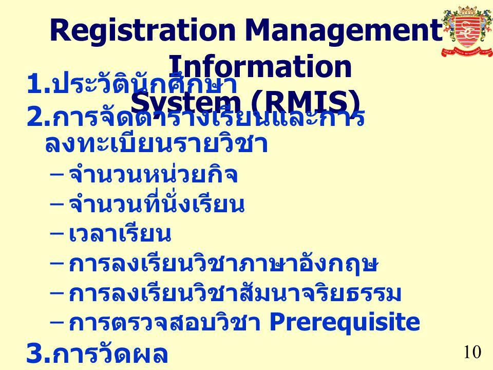Registration Management Information System (RMIS) 10  ประวัตินักศึกษา  การจัดตารางเรียนและการ ลงทะเบียนรายวิชา – จำนวนหน่วยกิจ – จำนวนที่นั่งเรียน