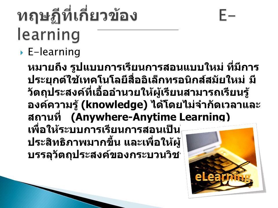  E-learning หมายถึง รูปแบบการเรียนการสอนแบบใหม่ ที่มีการ ประยุกต์ใช้เทคโนโลยีสื่ออิเล็กทรอนิกส์สมัยใหม่ มี วัตถุประสงค์ที่เอื้ออำนวยให้ผู้เรียนสามารถ