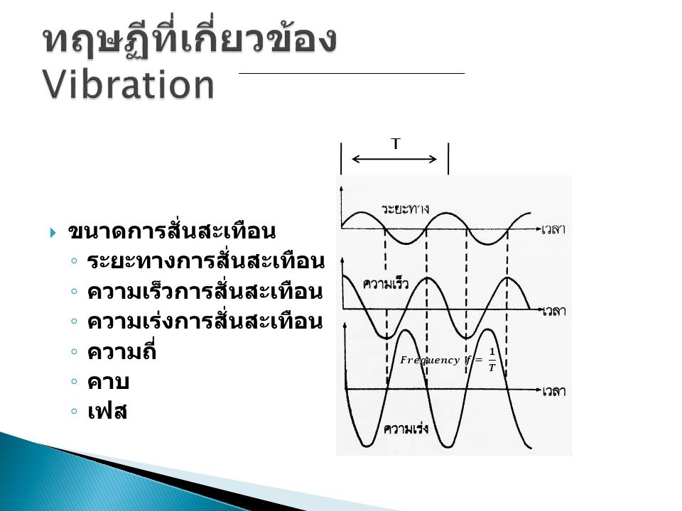  การวัดค่าการสั่นสะเทือน ◦ ค่าสูงสุด (Peak) ◦ ค่าสูงสุดบนถึงต่ำสุดล่าง (Peak to Peak) ◦ ค่าเฉลี่ย RMS ◦ อัตราส่วนพีค (Peak ratio) ◦ ค่าเฉลี่ย (Average) ◦ ค่า Form factor ◦ ค่าการสั่นสะเทือนโดยรวม