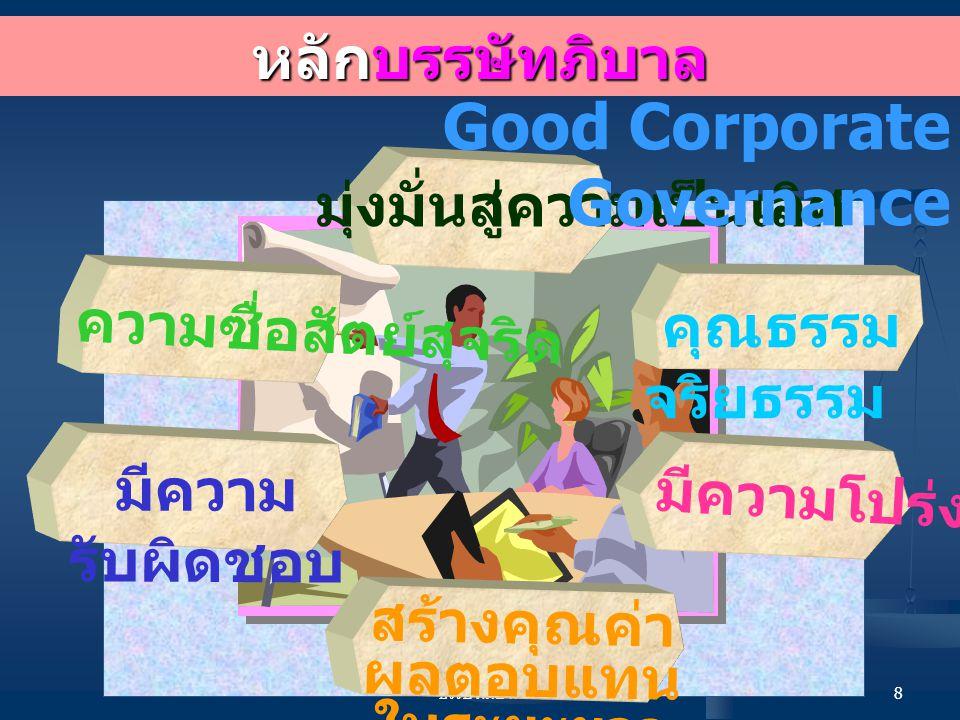 บรรษัทภิบาล 8 หลักบรรษัทภิบาล มุ่งมั่นสู่ความเป็นเลิศ คุณธรรม จริยธรรม มีความโปร่งใส มีความ รับผิดชอบ สร้างคุณค่า ผลตอบแทน ในระยะยาว ความซื่อสัตย์สุจริต Good Corporate Governance
