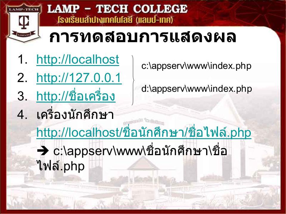 การทดสอบการแสดงผล 1.http://localhosthttp://localhost 2.http://127.0.0.1http://127.0.0.1 3.http:// ชื่อเครื่องhttp:// ชื่อเครื่อง 4.