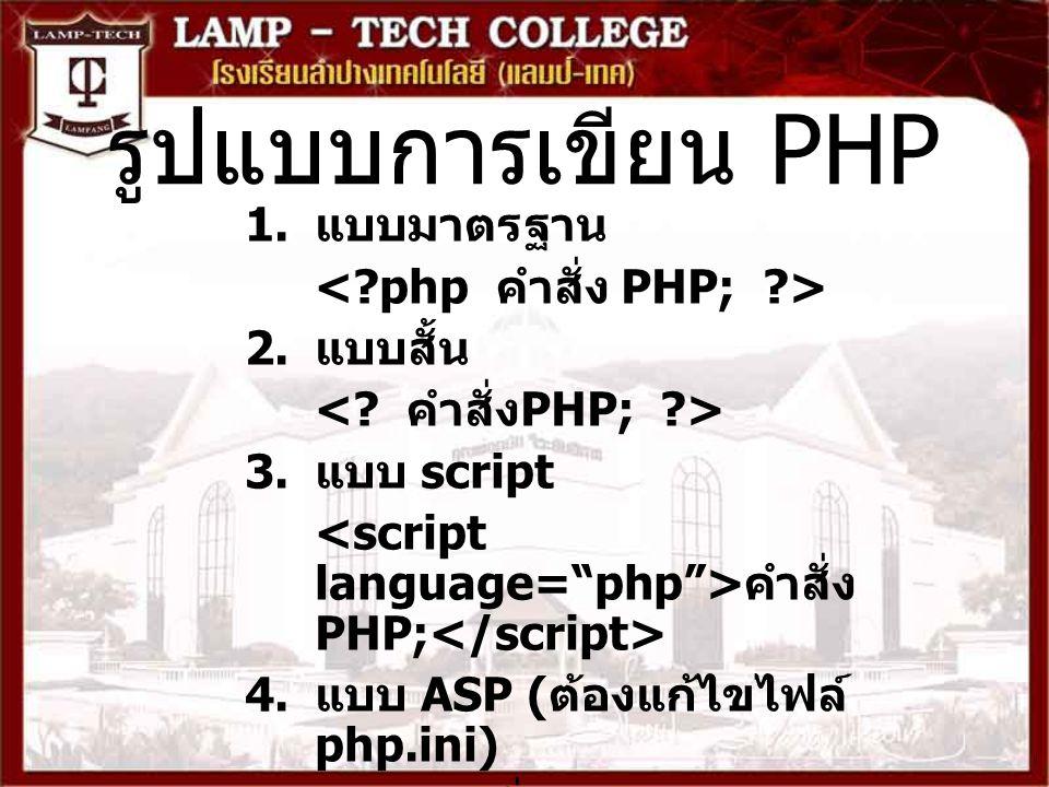 รูปแบบการเขียน PHP 1. แบบมาตรฐาน 2. แบบสั้น 3. แบบ script คำสั่ง PHP; 4. แบบ ASP ( ต้องแก้ไขไฟล์ php.ini) ( ภายในบล็อกคำสั่งจะมีคำสั่ง PHP กี่คำสั่งก็