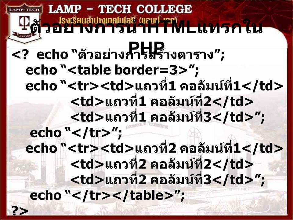 """ตัวอย่างการนำ HTML แทรกใน PHP <? echo """" ตัวอย่างการสร้างตาราง """"; echo """" """"; echo """" แถวที่ 1 คอลัมน์ที่ 1 แถวที่ 1 คอลัมน์ที่ 2 แถวที่ 1 คอลัมน์ที่ 3 """";"""