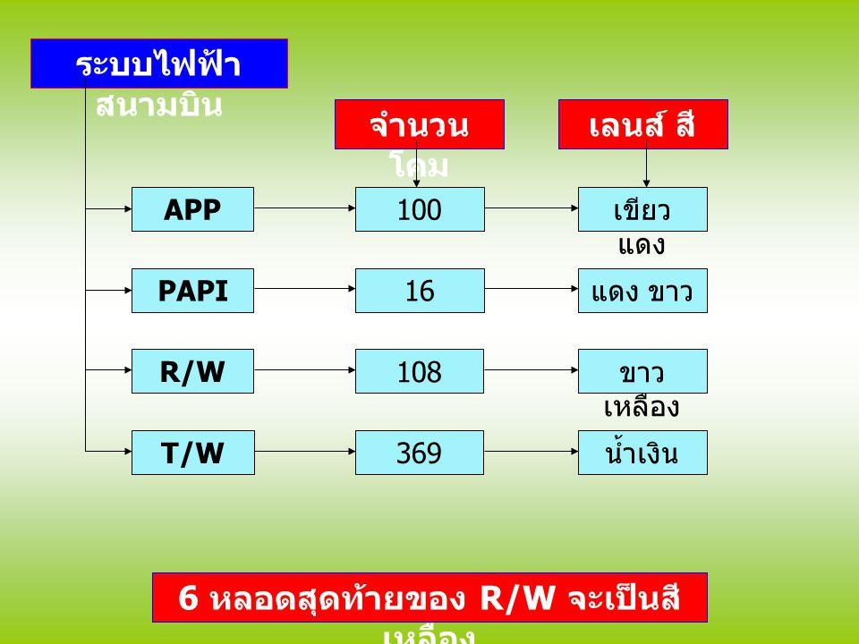 ระบบไฟฟ้า สนามบิน APP PAPI R/W T/W จำนวน โคม 100 16 108 369 เขียว แดง แดง ขาว ขาว เหลือง น้ำเงิน 6 หลอดสุดท้ายของ R/W จะเป็นสี เหลือง เลนส์ สี