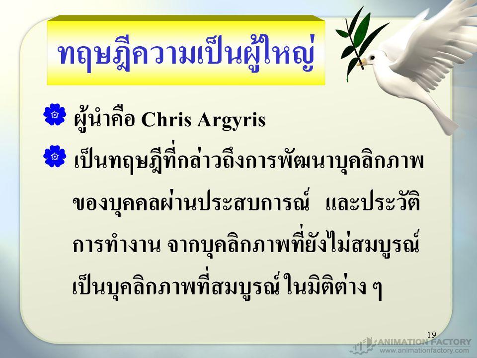 19 ทฤษฎีความเป็นผู้ใหญ่  ผู้นำคือ Chris Argyris  เป็นทฤษฎีที่กล่าวถึงการพัฒนาบุคลิกภาพ ของบุคคลผ่านประสบการณ์ และประวัติ การทำงาน จากบุคลิกภาพที่ยัง