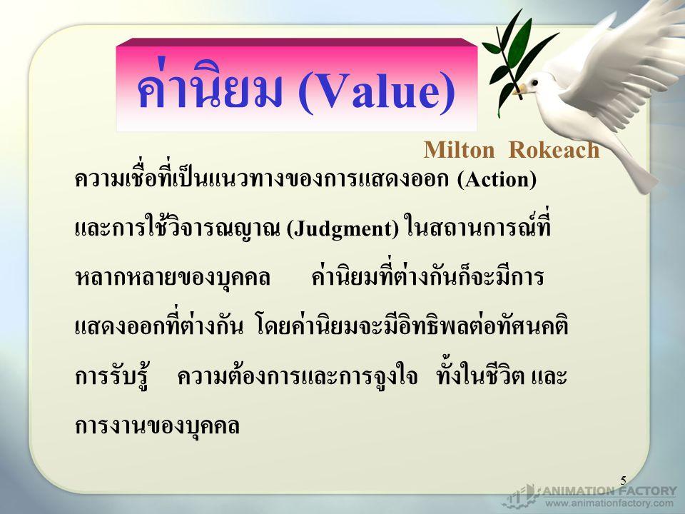 5 ค่านิยม (Value) ความเชื่อที่เป็นแนวทางของการแสดงออก (Action) และการใช้วิจารณญาณ (Judgment) ในสถานการณ์ที่ หลากหลายของบุคคล ค่านิยมที่ต่างกันก็จะมีการ แสดงออกที่ต่างกัน โดยค่านิยมจะมีอิทธิพลต่อทัศนคติ การรับรู้ ความต้องการและการจูงใจ ทั้งในชีวิต และ การงานของบุคคล Milton Rokeach