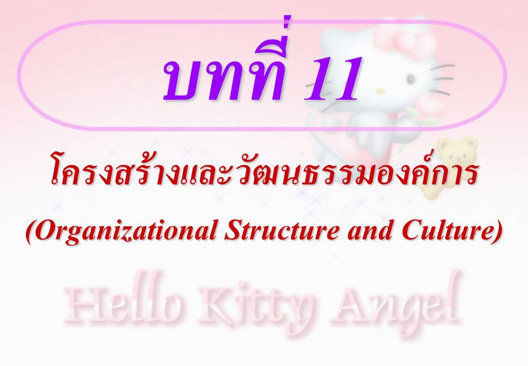 บทที่ 11 โครงสร้างและวัฒนธรรมองค์การ (Organizational Structure and Culture)