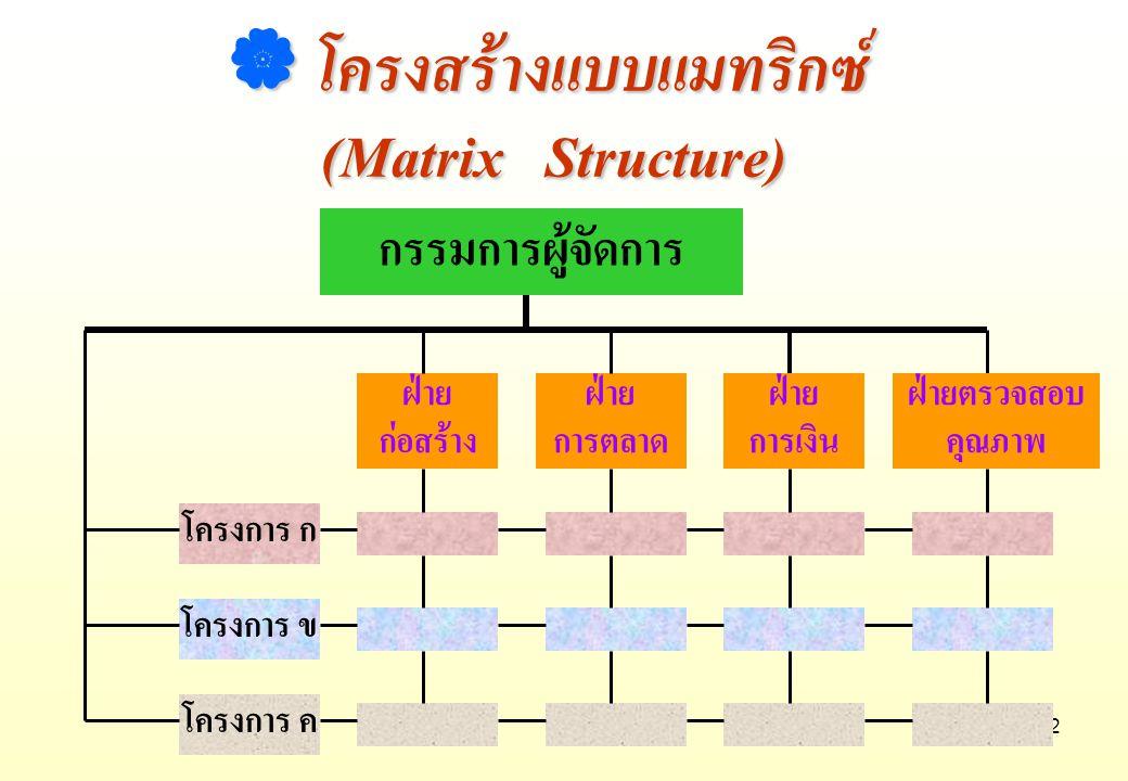 12 กรรมการผู้จัดการ ฝ่าย ก่อสร้าง  โครงสร้างแบบแมทริกซ์ (Matrix Structure) (Matrix Structure) ฝ่าย การตลาด ฝ่าย การเงิน ฝ่ายตรวจสอบ คุณภาพ โครงการ ก