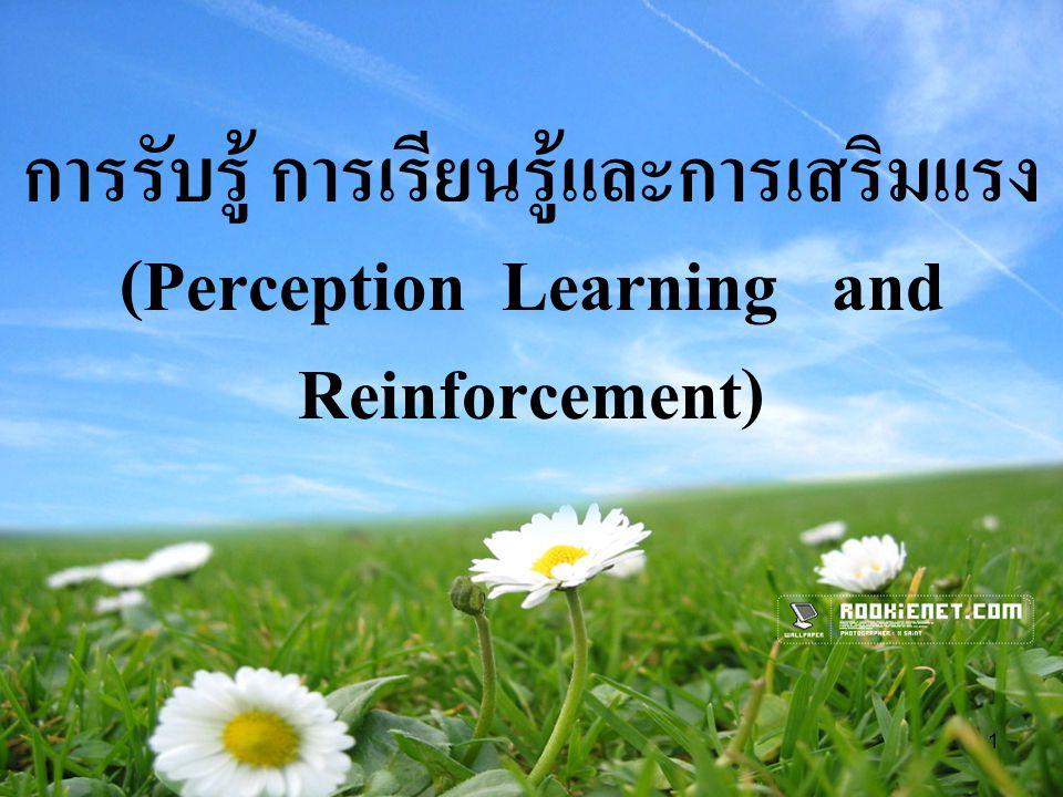 1 การรับรู้ การเรียนรู้และการเสริมแรง (Perception Learning and Reinforcement)