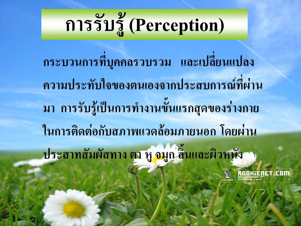 3 การรับรู้ (Perception) กระบวนการที่บุคคลรวบรวม และเปลี่ยนแปลง ความประทับใจของตนเองจากประสบการณ์ที่ผ่าน มา การรับรู้เป็นการทำงานขั้นแรกสุดของร่างกาย