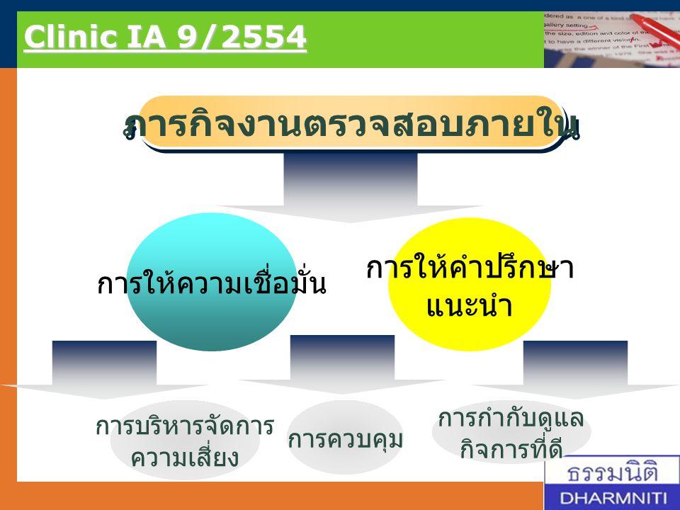 LOGO Clinic IA 9/2554 การบรรลุผลภารกิจงานตรวจสอบภายใน คุณค่าเพิ่ม แก่กิจการ หรือองค์กร ช่วยแก้ไข / ป้องกันปัญหาพัฒนาการควบคุมและการกำกับดูแลกิจการที่ดี การปรับปรุงพัฒนา คุณภาพการดำเนินงาน อย่างต่อเนื่อง