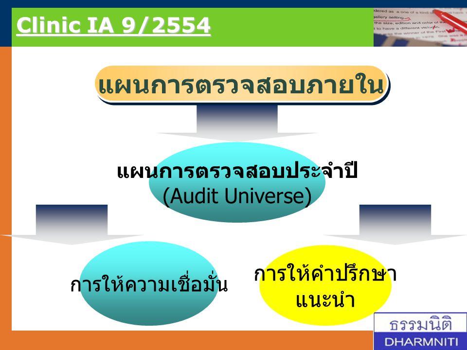 LOGO Clinic IA 9/2554 แผนการตรวจสอบภายใน การให้คำปรึกษา แนะนำ แผนการตรวจสอบประจำปี (Audit Universe) การให้ความเชื่อมั่น