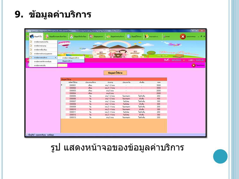 9. ข้อมูลค่าบริการ รูป แสดงหน้าจอของข้อมูลค่าบริการ