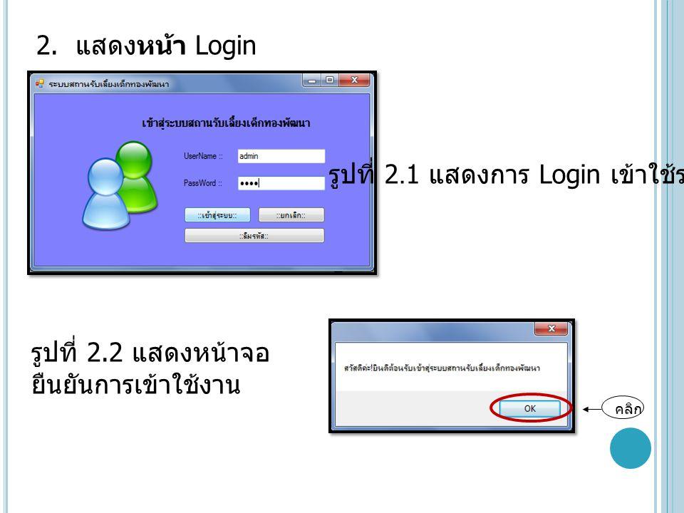 2. แสดงหน้า Login รูปที่ 2.1 แสดงการ Login เข้าใช้ระบบ คลิก รูปที่ 2.2 แสดงหน้าจอ ยืนยันการเข้าใช้งาน