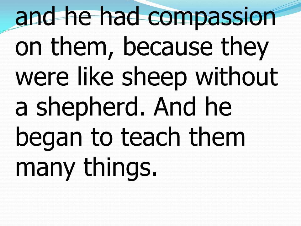 34 ครั้นพระเยซูเสด็จขึ้นจาก เรือแล้ว ก็ทรงเห็น ประชาชนหมู่ใหญ่ และ พระองค์ทรงสงสารเขา เพราะว่าเขาเป็นเหมือนฝูง แกะไม่มีผู้เลี้ยง พระองค์ จึงทรงสั่งสอนเขาเป็น หลายข้อหลายประการ