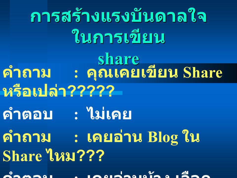 การสร้างแรงบันดาลใจ ในการเขียน share คำถาม : คุณเคยเขียน Share หรือเปล่า ????? คำตอบ : ไม่เคย คำถาม : เคยอ่าน Blog ใน Share ไหม ??? คำตอบ : เคยอ่านบ้า