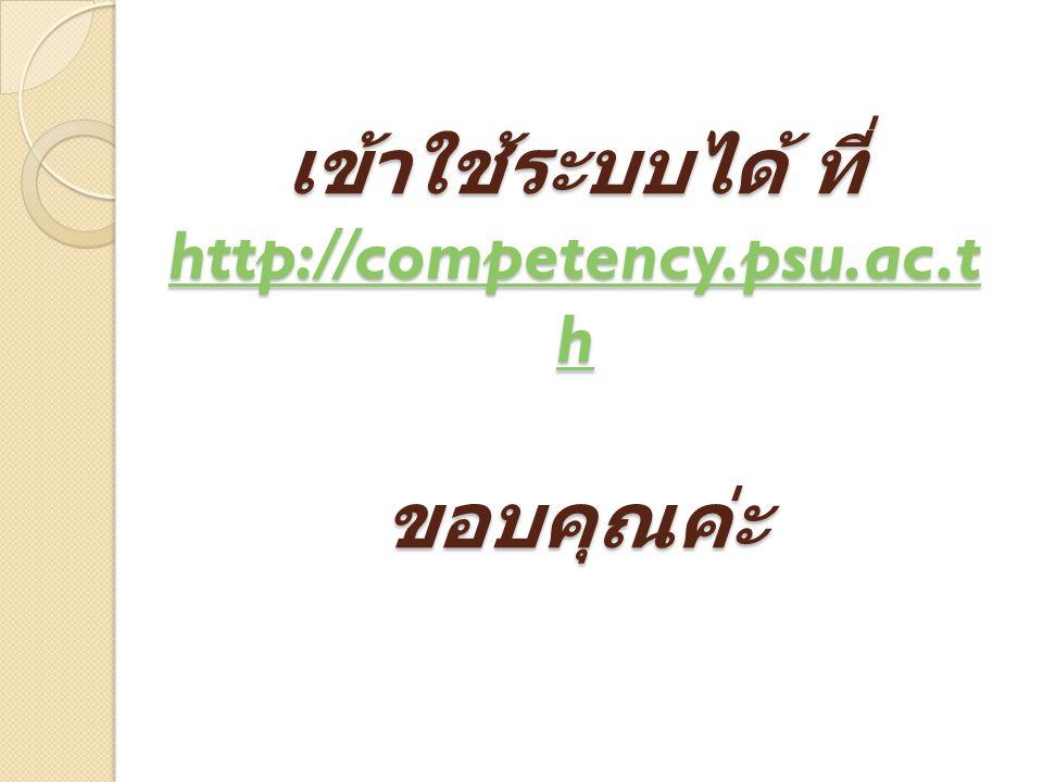 เข้าใช้ระบบได้ ที่ http://competency.psu.ac.t h ขอบคุณค่ะ http://competency.psu.ac.t h http://competency.psu.ac.t h