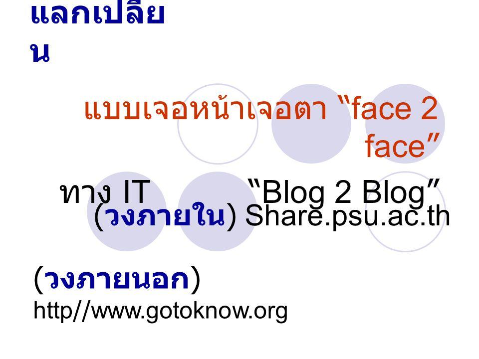 """เวที แลกเปลี่ย น แบบเจอหน้าเจอตา """"face 2 face"""" ทาง IT """"Blog 2 Blog"""" ( วงภายใน ) Share.psu.ac.th ( วงภายนอก ) http//www.gotoknow.org"""