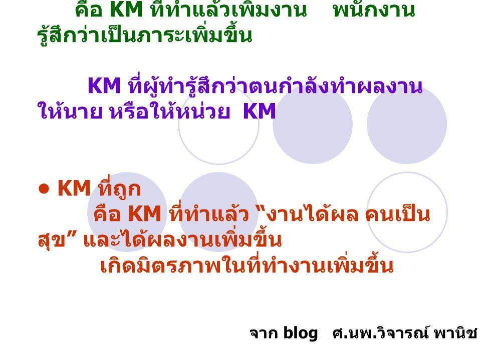 KM ที่ผิด คือ KM ที่ทำแล้วเพิ่มงาน พนักงาน รู้สึกว่าเป็นภาระเพิ่มขึ้น KM ที่ผู้ทำรู้สึกว่าตนกำลังทำผลงาน ให้นาย หรือให้หน่วย KM KM ที่ถูก คือ KM ที่ทำ
