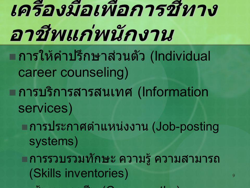 9 เครื่องมือเพื่อการชี้ทาง อาชีพแก่พนักงาน การให้คำปรึกษาส่วนตัว (Individual career counseling) การบริการสารสนเทศ (Information services) การประกาศตำแห