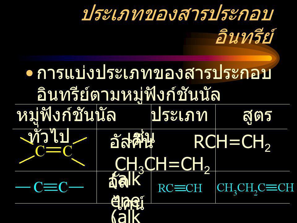 ประเภทของสารประกอบ อินทรีย์ การแบ่งประเภทของสารประกอบ อินทรีย์ตามหมู่ฟังก์ชันนัล หมู่ฟังก์ชันนัล ประเภท สูตร ทั่วไป เช่น อัลคีน RCH=CH 2 CH 3 CH=CH 2