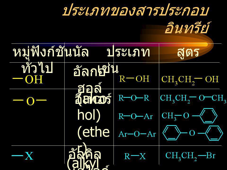 ประเภทของสารประกอบ อินทรีย์ หมู่ฟังก์ชันนัล ประเภท สูตร ทั่วไป เช่น อัลกอ ฮอล์ อัลคิล เฮไลด์ อีเทอร์ (ethe r) (alco hol) (alkyl halide)