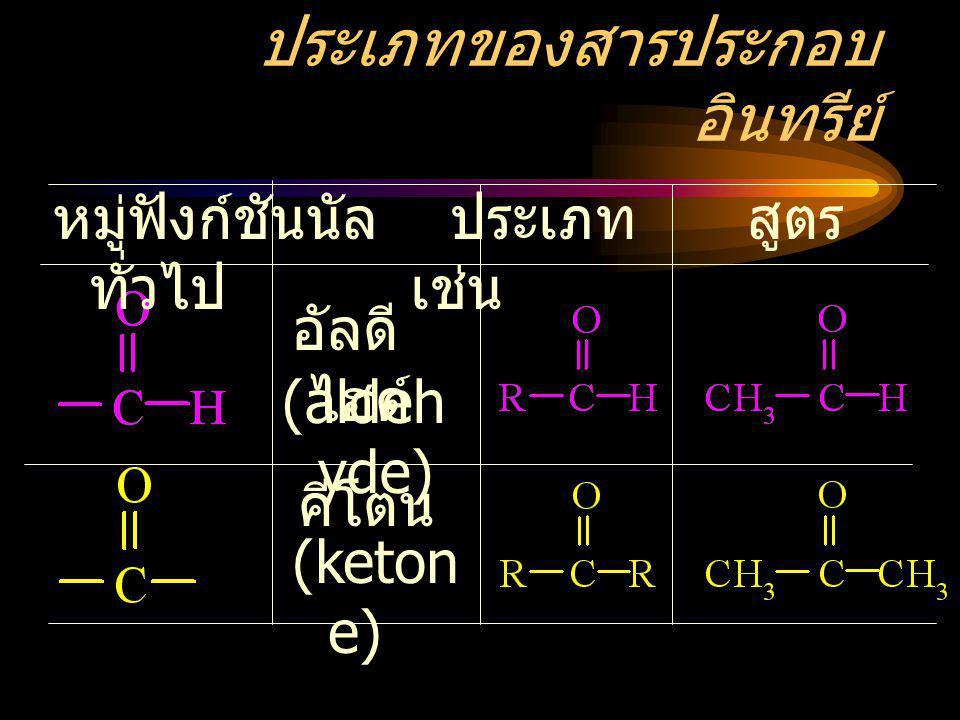 ประเภทของสารประกอบ อินทรีย์ หมู่ฟังก์ชันนัล ประเภท สูตร ทั่วไป เช่น อัลดี ไฮด์ คีโตน (keton e) (aldeh yde)