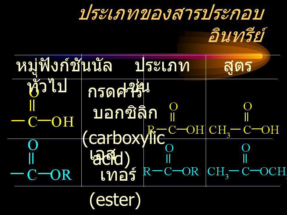 ประเภทของสารประกอบ อินทรีย์ หมู่ฟังก์ชันนัล ประเภท สูตร ทั่วไป เช่น กรดคาร์ บอกซิลิก (carboxylic acid) เอส เทอร์ (ester)