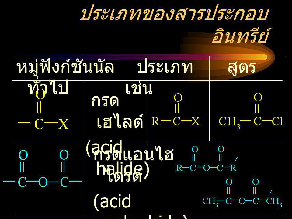 ประเภทของสารประกอบ อินทรีย์ หมู่ฟังก์ชันนัล ประเภท สูตร ทั่วไป เช่น กรด เฮไลด์ (acid halide) กรดแอนไฮ ไดรด์ (acid anhydride)