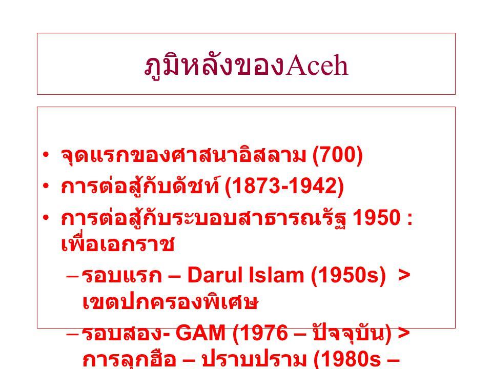 ภูมิหลังของ Aceh จุดแรกของศาสนาอิสลาม (700) การต่อสู้กับดัชท์ (1873-1942) การต่อสู้กับระบอบสาธารณรัฐ 1950 : เพื่อเอกราช – รอบแรก – Darul Islam (1950s) > เขตปกครองพิเศษ – รอบสอง - GAM (1976 – ปัจจุบัน ) > การลุกฮือ – ปราบปราม (1980s – 1990s)