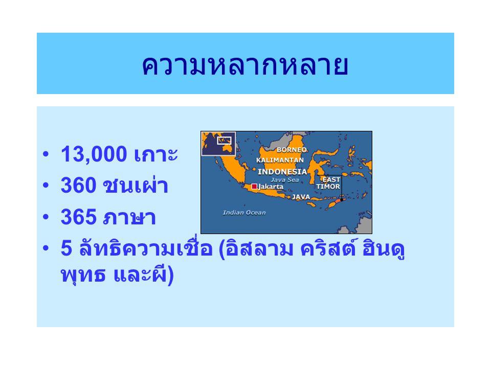 ความหลากหลาย 13,000 เกาะ 360 ชนเผ่า 365 ภาษา 5 ลัทธิความเชื่อ ( อิสลาม คริสต์ ฮินดู พุทธ และผี )